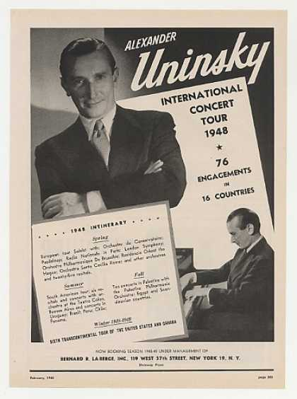Pianist Alexander Uninsky Photo Booking (1948)