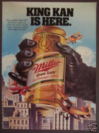 Miller High Life Beer King Kan 32 Oz Can Art (1985)