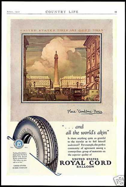 U.S Royal Cord Tires Place Vendome Paris Art (1927)
