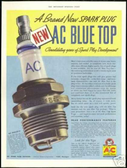 AC Blue Top Line Vintage Car Spark Plug (1937)