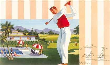 Golfing at Resort, Illustration