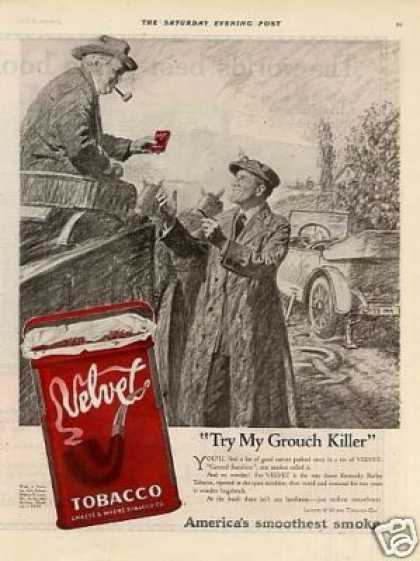 "Velvet Tobacco Ad ""Try My Grouch Killer... (1921)"
