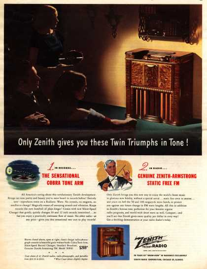 Zenith Radio Corporation's Various – Only Zenith gives you these Twin Triumphs in Tone (1947)