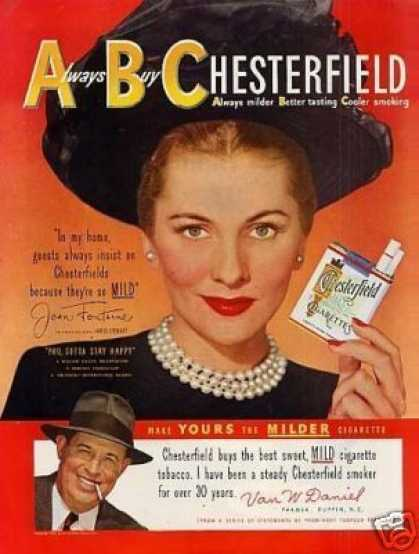 Chesterfield Cigarettes Ad Joan Fontaine (1949)