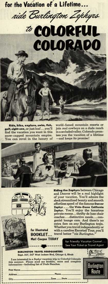 Burlington Route's Colorado – for the Vacation of a Lifetime...ride Burlington Zephyrs to COLORFUL COLORADO (1953)