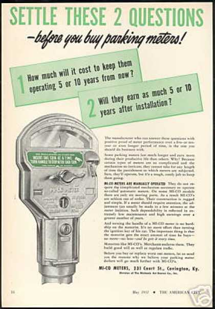 MI-CO Parking Meters Photo Vintage (1951)