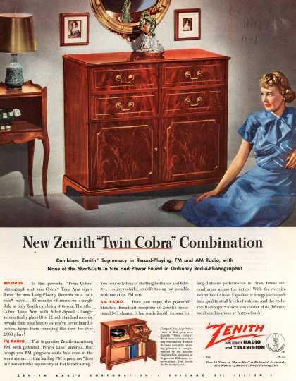 Zenith Radio Corporation&#8217;s &quot;Twin Cobra&quot; console combination &#8211; New Zenith &quot;Twin Cobra&quot; Combination (1949)