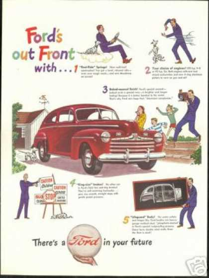Ford Is Out Front Vintage Print Car (1946)