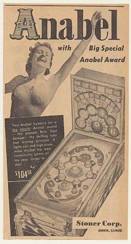 Stoner Corp Anabel Pinball Game Machine (1940)