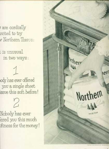 Northern Toilet Paper Ad Single Sheet Tissue (1954)