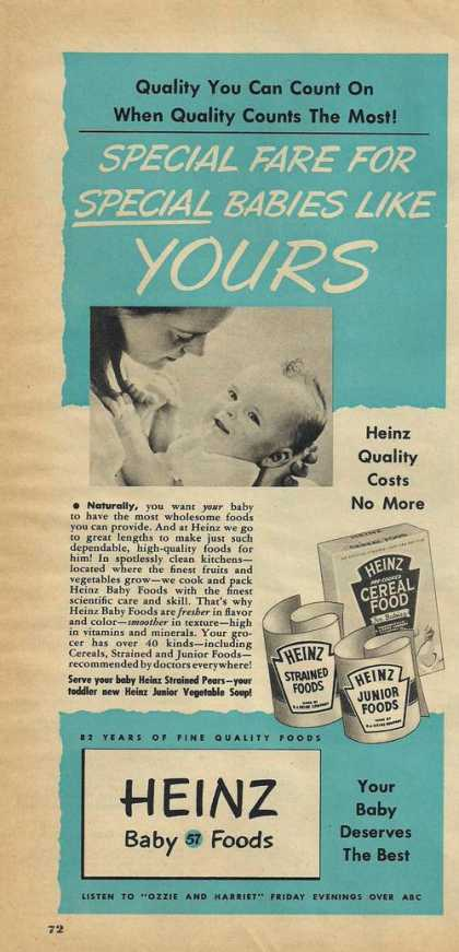 Heinz Baby Food Quality Costs No More Prin (1951)