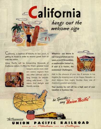 Union Pacific Railroad's Vacation/Business Travel – California hangs out the welcome sign (1946)