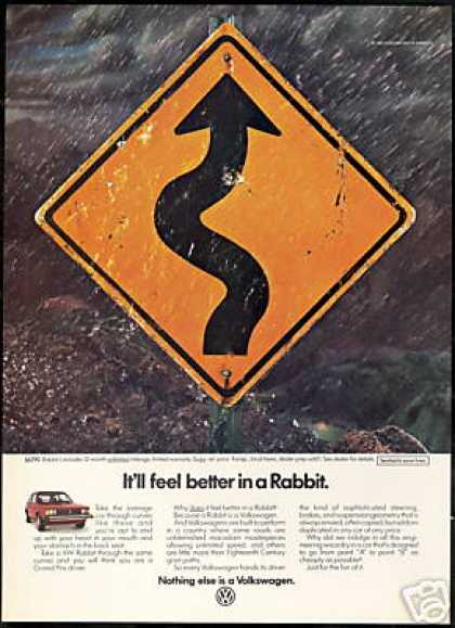 Road Curves Sign VW Volkswagen Rabbit Car (1983)