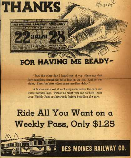 Des Moines Railway Co.'s Weekly pass – Thanks For Having Me Ready- Ride All You Want on a Weekly Pass, Only $1.25 (1945)