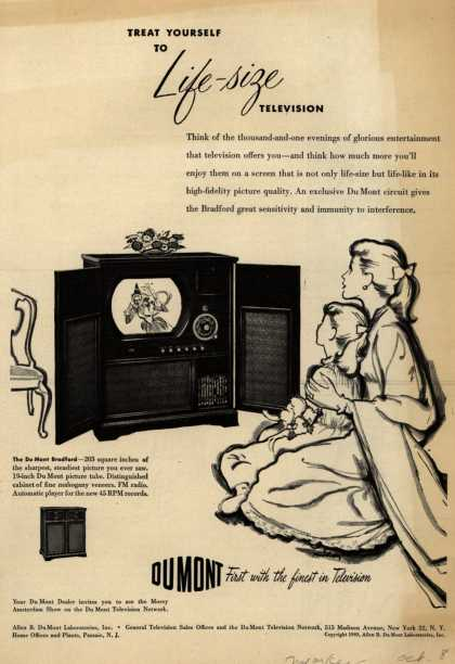 Allen B. DuMont Laboratorie's The DuMont Bradford Television Combination – Treat Yourself to Life-Size Television (1949)