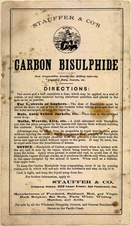 Stauffer & Co.'s Carbon Bisulphide – Carbon Bisulphide