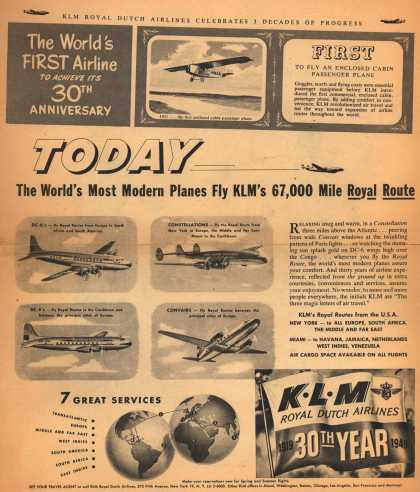 KLM Royal Dutch Airline's K.L.M. Royal Dutch Air Lines – Today, The World's Most Modern Planes Fly KLM's 67,000 Mile Royal Route (1949)