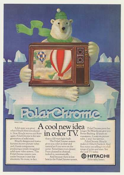 Hitachi PolarChrome CT-926 Color TV Polar Bear (1976)