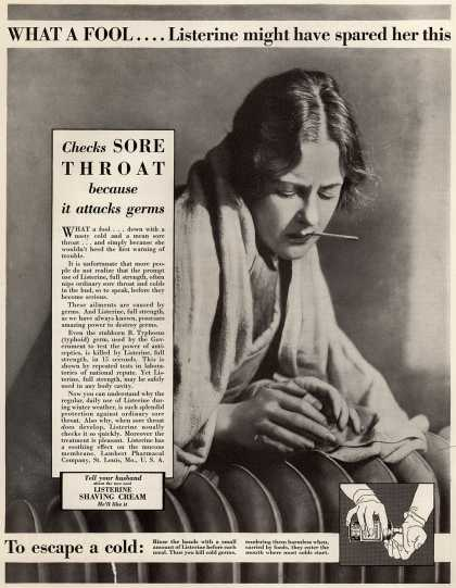 Lambert Pharmacal Company's Listerine – What A Fool .... Listerine might have spared her this (1929)