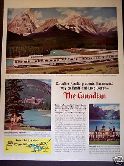 Canadian Pacific Dome Train Bow River Valley (1955)