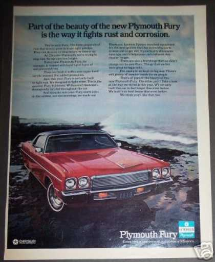 Red Plymouth Fury for '73 Car Photo (1972)