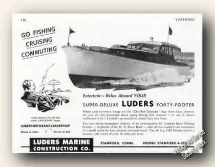 Luders 40 Sport Fishing Cruiser Photo Antique (1947)