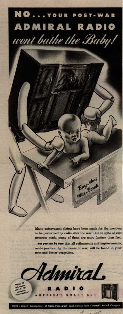 Admiral Radio's Radio – No... Your post-war Admiral Radio won't bathe the baby (1944)
