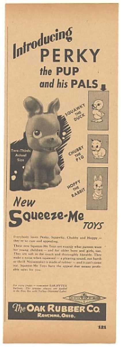 Oak Rubber Ravenna Ohio Perky the Pup Toy Trade (1946)