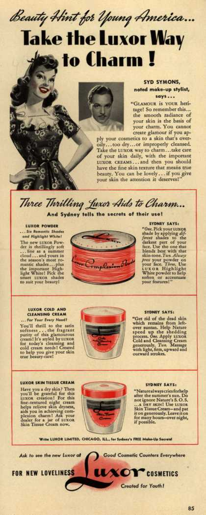 Luxor Limited's Luxor Creams – Beauty Hint for Young America... Take the Luxor Way to Charm (1940)