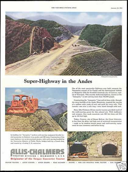 Allis Chalmers Crawler Tractor Andes Autopista (1954)