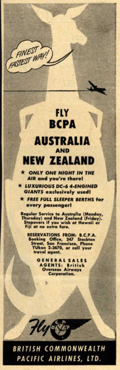 British Commonwealth Pacific Airlines, Limited's Australia and New Zealand – Fly BCPA. Australia and New Zealand (1951)
