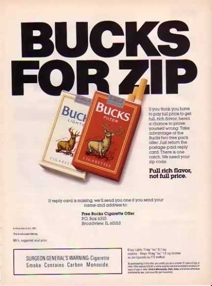 Bucks Cigarettes – Bucks For Zip (1991)