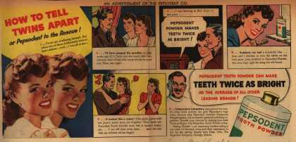 Pepsodent Company's Pepsodent Tooth Powder – How To Tell Twins Apart (1942)