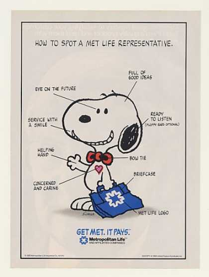 Peanuts Snoopy Met Life Insurance Rep (1989)