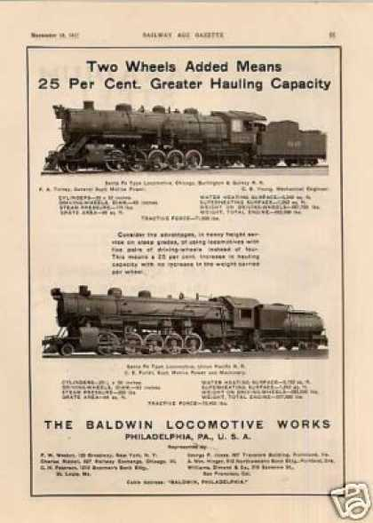 Baldwin Locomotive Ad Cb&q/union Pacific 2-10-2's (1917)