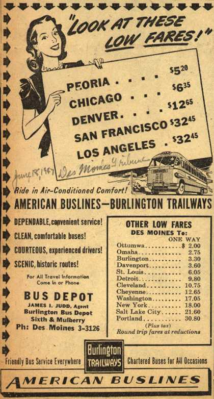 "Burlington Trailway's Low fares – ""Look At These Low Fares!"" (1947)"