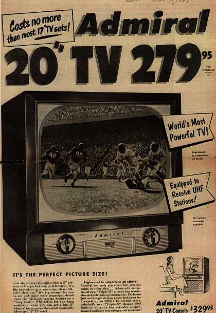 "Admiral Corporation's Admiral 20"" Television – Costs no More than most 17"" TV Sets! Admiral 20"" TV 279.95 (1951)"