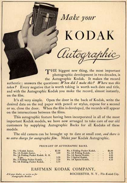 Kodak's Autographic cameras – Make Your Kodak Autographic (1915)
