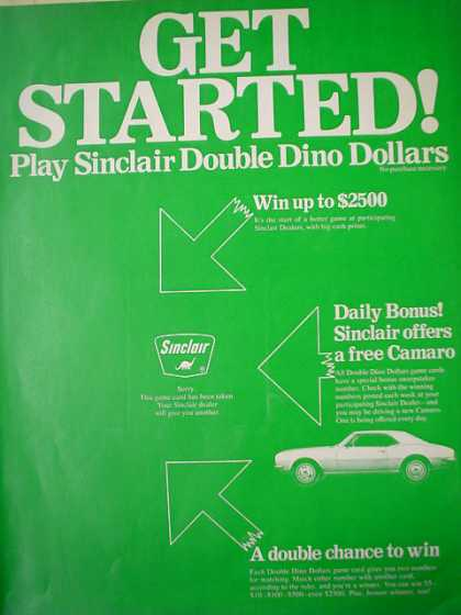 Sinclair Oil Double Dino Dollars with Coupon &#8211; Game Card (1968)