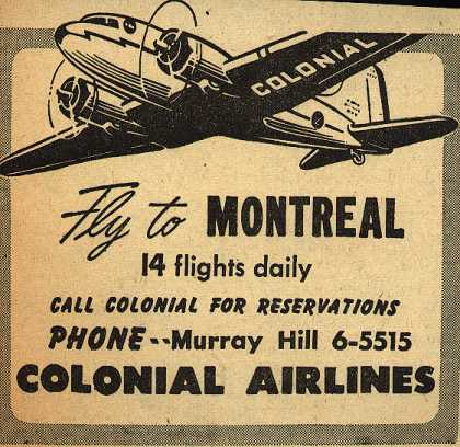 Colonial Airline's Montreal – Fly to Montreal (1945)