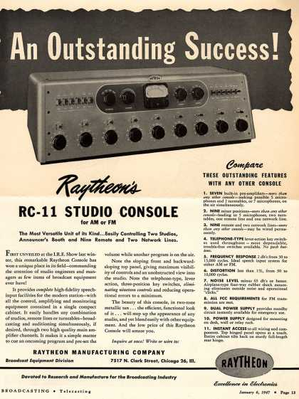 Raytheon Manufacturing Company's RC-11 Studio Console – An Outstanding Success (1947)