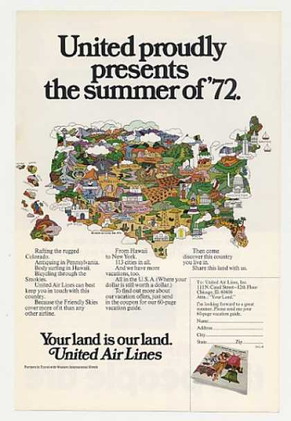 United Airlines Summer of '72 Vacation USA Map (1972)