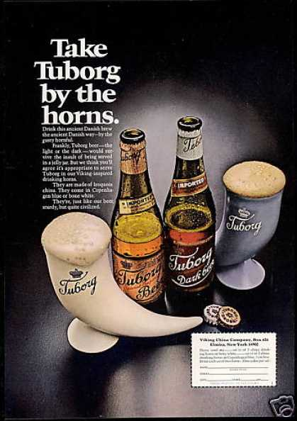 Tuborg Beer Viking Iroquois China Drinking Horn (1969)
