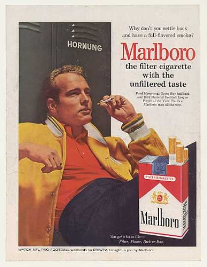 Paul Hornung Marlboro Cigarette Photo (1962)