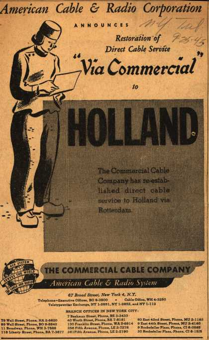 "American Cable & Radio System's Cable Service – American Cable & Radio Corporation Announces Restoration of Direct Cable Service ""Via Commercial"" to Holland (1945)"