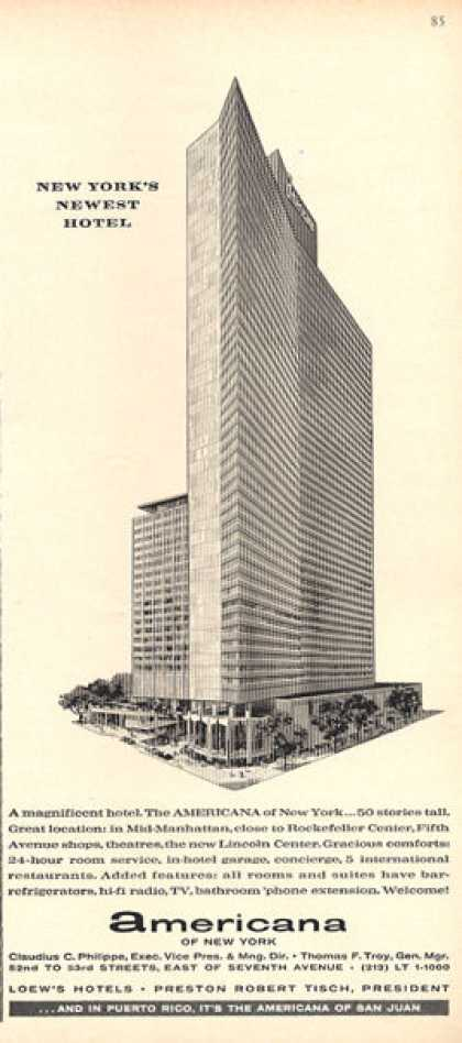 Americana Hotel Manhattan New York Newest (1963)