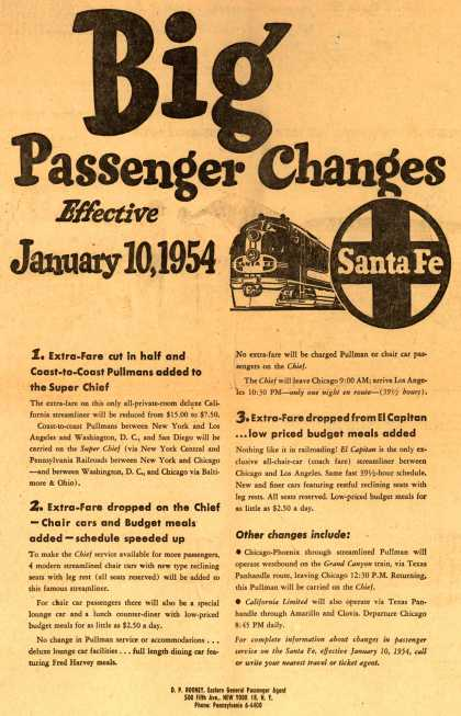 Santa Fe Railway – Big Passenger Changes Effective January 10, 1954 (1953)