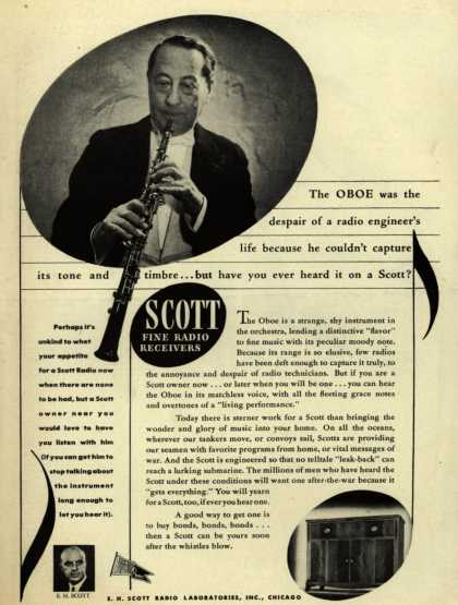 E. H. Scott Radio Laboratorie's Radio – The Oboe was the despair of a radio engineer's life because he couldn't capture its tone and timbre... but have you ever heard it on a Scott? (1943)