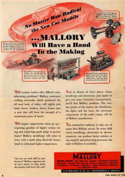 P.R. Mallory and Company, Incorporated's Electronics – No Matter How Radical the New Car Models ...Mallory Will Have a Hand In the Making (1948)