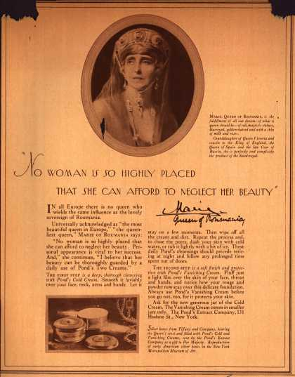 "Pond's Extract Co.'s Pond's Cold Cream and Vanishing Cream – ""No Woman Is So Highly Placed That She Can Afford To Neglect Her Beauty"" (1925)"